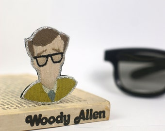 Embroidered brooch, hand sewn Woody Allen's brooch,embroidered jewel portrait,cameo brooch