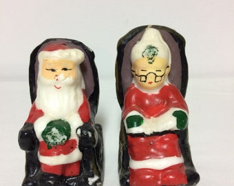 SALE - Vintage Christmas candles, Santa and Mrs Claus Wax Candles, Christmas Home Decor, Vintage Candles, Santa Rocking in Chair Candle