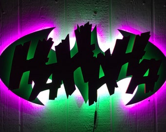 Superhero Neon Wall Lights : Illuminated LED Batman Sign Dark Knight Night Light Wall Decor
