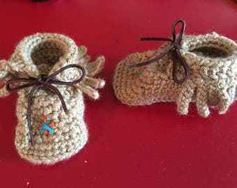 Childrens Crochet Fringed Moccasins