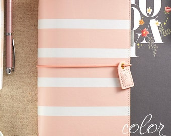 Webster's Pages - Peach White Stripes Traveler's Notebook KIT : Websters Pages Planner diary Journal Notebook (include 3 Inserts, Gel Pen)