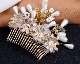 Flora Bridal Comb, Bridal Hair Accessories, Boho Bridal Hairpiece, Wedding Hair Accessories, Bridal Hairpiece, Flower Bridal Headpiece