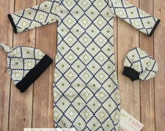 Baby boy gown, knot hat, and no scratch mittens, aztec with navy blue trim newborn set