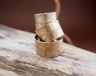 "Ring Leaf ""Mirabelle"" / Bronze clay / Art Clay / Metal Clay / Nature chic"