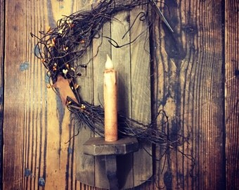 Tobacco Lathe Hanging Wall Sconce with Timer Taper Candle