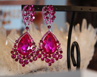 hot pink large crystal rhinestone earrings, fuschi chunky prom earrings, large pageant earrings, rhinestone earrings