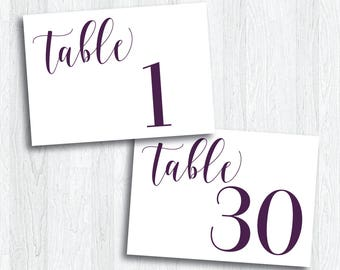 Printable Plum Horizontal Table Numbers 1 - 30 | Instant Download | Purple Table Numbers | Wedding Reception | Anniversary Party (SHINE Set)