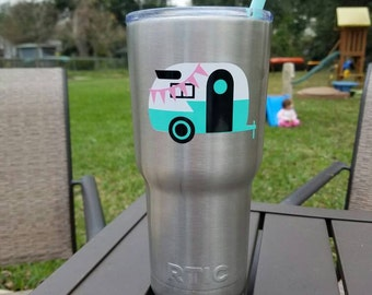 Happy Camper decal sign custom Yeti cup stickers, Yeti personalized, RTIC personalized, Custom Ozark Trail, Yeti cups for women