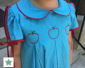 Apple Dress, Back to school dress, First day of school dress, Girls Dresses
