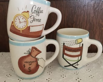 Vintage Coffee Cup (Personalize) Set of 3