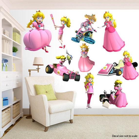 Princess peach super mario bros wall decal room decor for Peach bedroom decor