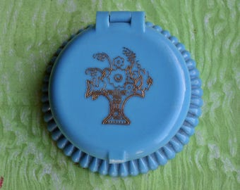 Vintage Cara Nome New Old Stock Miniature Rouge Compact Early Plastic Blue 1930s