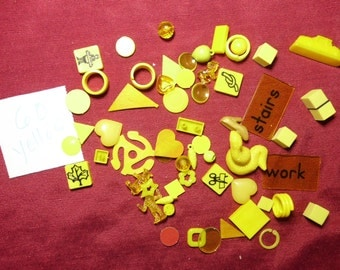 60 Small Yellow Objects Findings Figures Shapes Game Pieces Assemblage Mixed Media Altered Art and More
