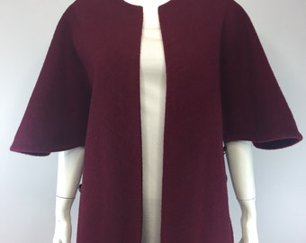 60's Maroon Side-Button Poncho Cape