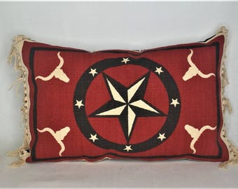western red black beige texas lone star ranch pillow cotton fringe for sofa chair or couch handmade u.s.a.