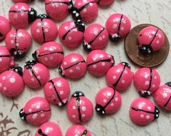 SET of 20 Cute Hot Pink Resin Flatbacks/Trim/Embellishments/DIY/Hair Bow Centers/Scrapbooking/Cardmaking