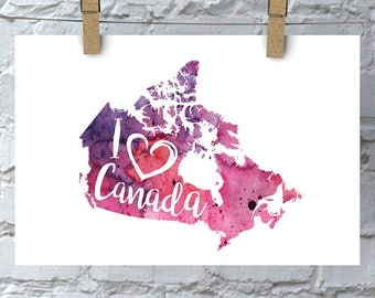 I Heart Canada Map Art Print, I Love Canada Watercolour Home Decor Map Painting, Canada Giclee Art, Housewarming or Moving Gift, Hand Drawn