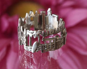 Los Angeles Cityscape - Skyline Statement Ring - Bridesmaid Gift - Gift for Her - Beach Wedding - Mothers Day