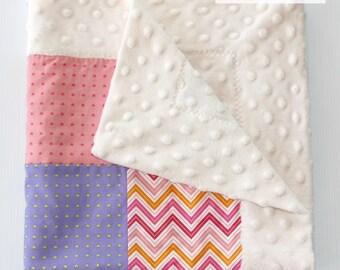 Cuddle blanket - comforter - patchwork - minky - sleep blanket - blankie - patchwork blanket - baby comforter - security blanket