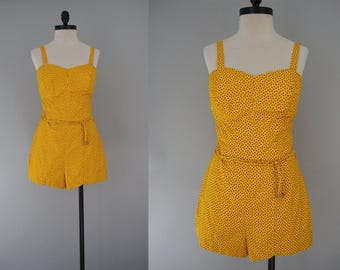 1960s Vintage Ceeb Of Miami Yellow Red Flowers Play Suit / 60s Pinup Bathing Beauty Bombshell Swimsuit Bathing Suit One Piece Romper