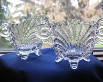 CAMBRIDGE Caprice Individual Creamer Sugar Clear Crystal 1940s