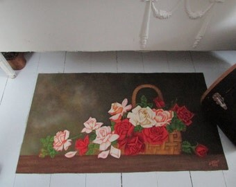 Canvas painting.. 32 x 18 ...Still Life,Basket of White, Pink, and Red Roses, Canvas Art, Flower Painting, Vintage..1972