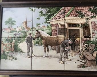 """Framed Mosa Ceramic Tiles Royal Schwabap Holland Framed 6 Tiles Equestrian  Horse Cobbler Wood Wooden Frame 19 5/8 """" x 13 3/4 """""""