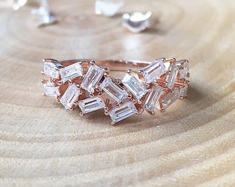 BIG DISCOUNT!!! Rose Gold Baguette Ring - Rose Gold Filled Ring, Baguette Ring