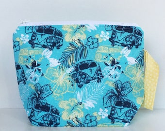 Combi Van Hawaii 2 Skein Size STURDY White Zip Project Bag with Yellow & White Flower Print Handle for Knitting / Craft Travel