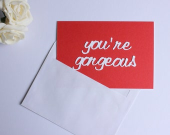 Red and White 'You're Gorgeous' Funny Anniversary or Birthday Postcard / Card by DPJ Designs