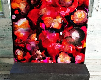 Alcohol Ink, Painting, Tile, Abstract, Multi-Color, Pinks, Reds, Oranges