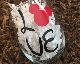 Love - Mickey - Stemless Wine Glass - Disney Lover Wine Glass