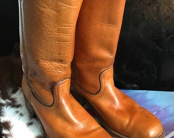 Frye Brown leather vintage campus/biker motorcycle boot sz 13B