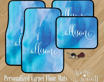 Watercolor Wash Personalized Car Floor Mats - Painted Pattern Monogrammed Carpet Car Mats - Custom Printed Auto Decor - Automotive Gift