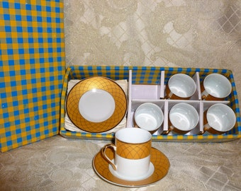 YS Yau Shing Fine Porcelain Demitasse Cups and Saucers In Original Box Set of Six