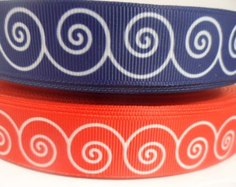 Nautical Grosgrain Ribbon, Beach Ribbon, Ocean Ribbon,  Wave Ribbon, 7/8  inch Grosgrain ribbon, perfect for hairbows, scrapbooking and More