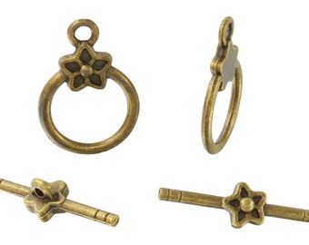 24 Sets 16 mm Base Metal Brass Tone Flower Toggle Clasps (PUT6001060)
