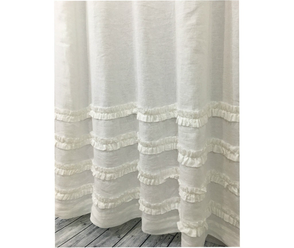 White Shower Curtain With Ruffles 100 Linen 72x72 72x85