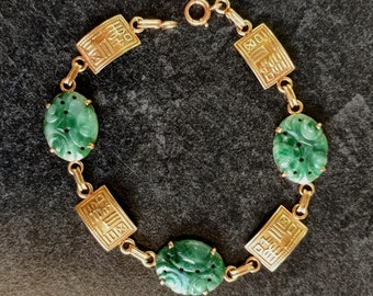 Green Jade Chinese Characters Bracelet 14k Yellow Gold