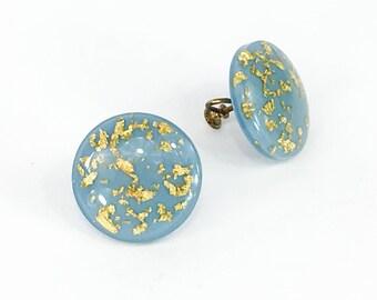 1950s Blue Lucite Earrings | Turquoise Screwback Earrings