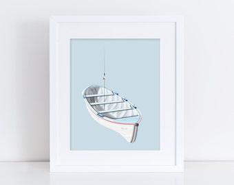 Little Blue Boat - Nursery Print - Children's Wall Art - Baby Nursery Decor