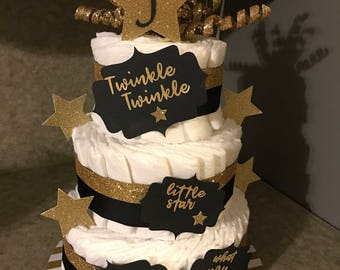 Gender neutral black and gold diaper cake