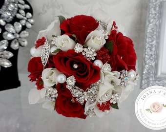 Bridal Brooch Bouquet, Brooch and Roses Bouquet, Roses brooch bouquet, White and Red Bridal Brooch Bouquet