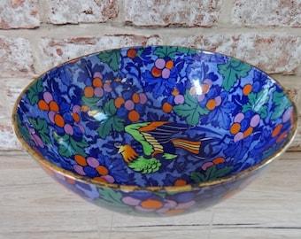 Antique Colourful bowl with Parrot design H H & G