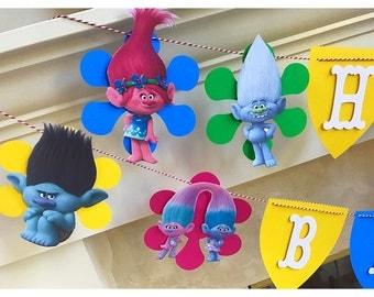 TROLLS Birthday Banner-Trolls Theme Party-Trolls Decorations- 9 Troll Characters!