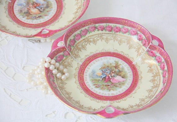 Set of Two Antique Porcelain Candy Dishes, Fragonard and Pink Rose Decor, Wille&Co