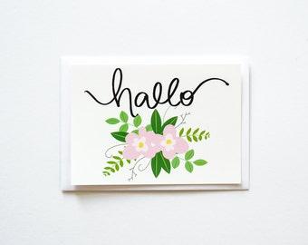 Hallo Floral, Hello Postcard, Flat Postcard, Greetings