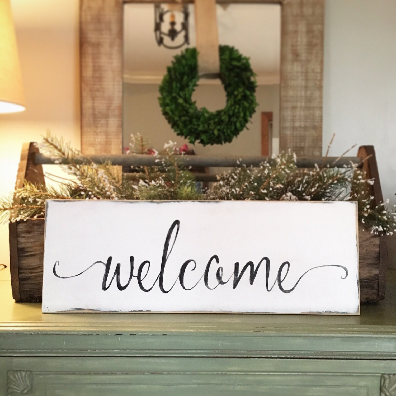 Welcome Wooden Sign For Front Porch Home Decor Farmhouse And