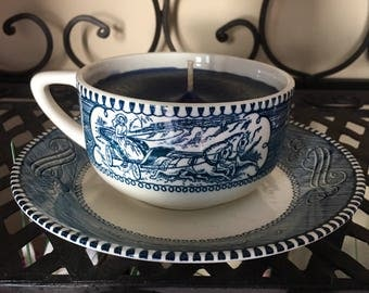 Vintage Teacup Candle: Midnight Blueberry Scented; Different Tea Cup Styles