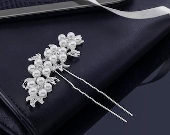 Pearl Hair Clip, Pearl Hair Comb, Pearl Hair Pins, Crystal Hair Pins, Wedding Hair Pins, Bridal Hair Pins, Rhinstone Hair Pins, Crystal Comb